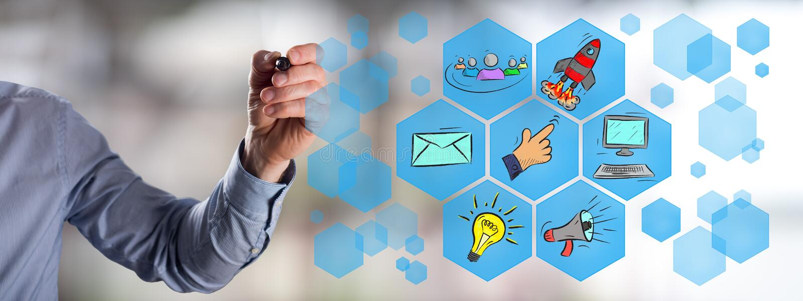 Digital marketing concept drawn by a man royalty free stock photos