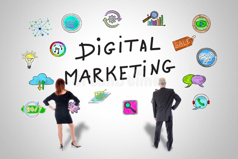 Digital marketing concept watched by business people stock photography
