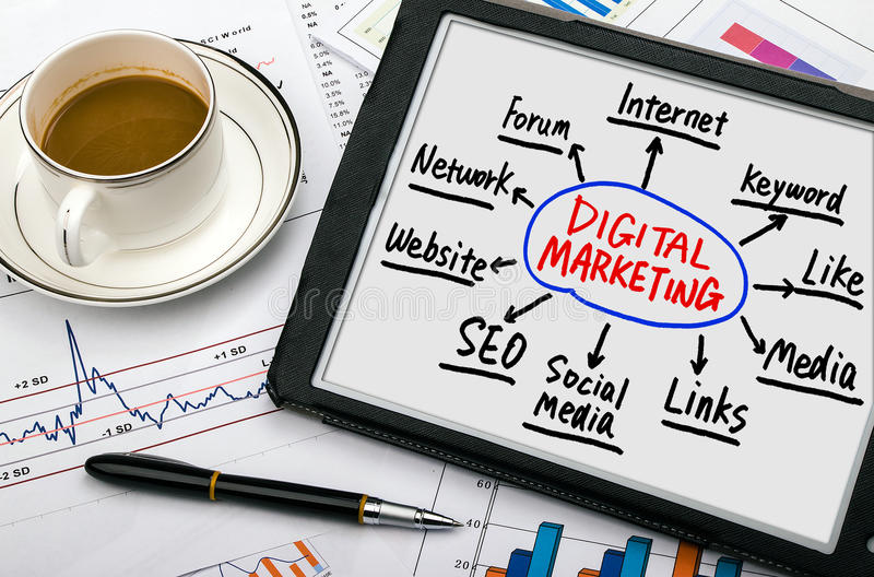 Digital marketing concept hand drawing on tablet pc stock images
