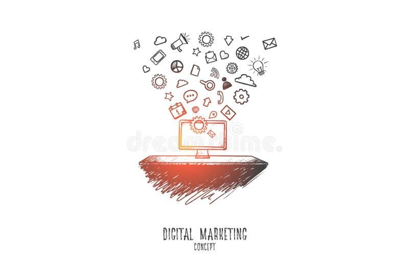 Digital marketing concept. Hand drawn isolated vector. stock illustration