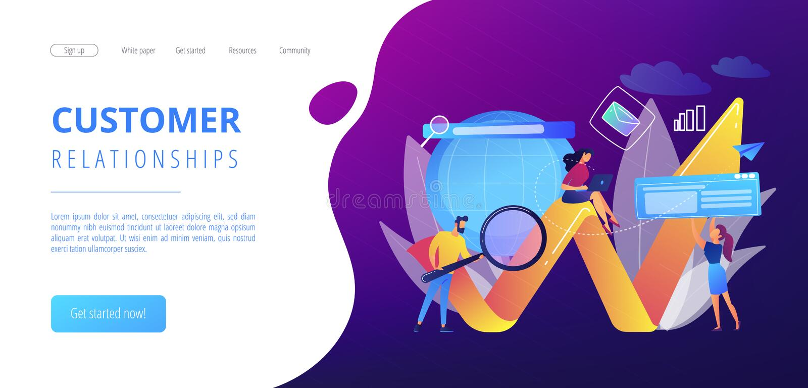 Digital marketing concept landing page. vector illustration