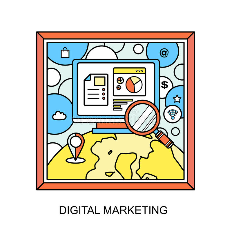 Digital marketing concept. Magnifying glass and internet elements in line style royalty free illustration