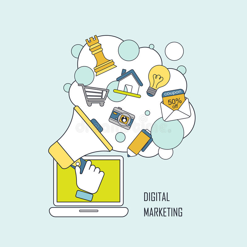 Digital marketing concept. Megaphone and internet elements in line style stock illustration