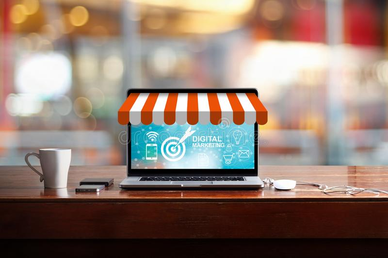 Digital marketing on modern laptop screen with icon marketing. Digital marketing concept. Modern laptop screen with icon marketing, success and goals, payments royalty free stock image