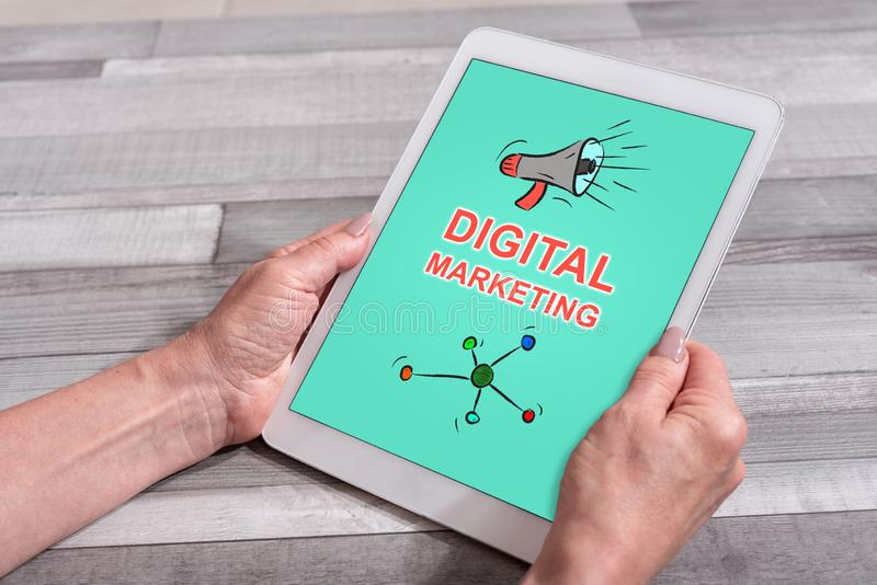 Digital marketing concept on a tablet royalty free illustration