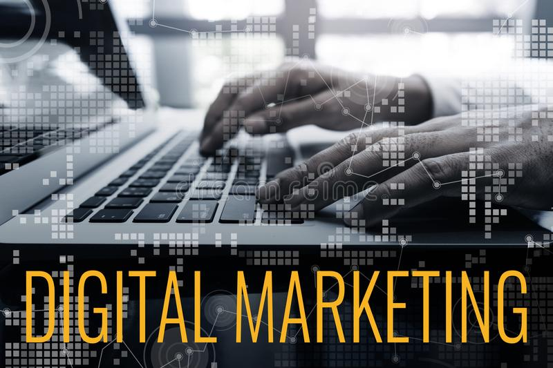 Digital marketing concepts ideas with male hand using laptop and chart interface royalty free stock photo