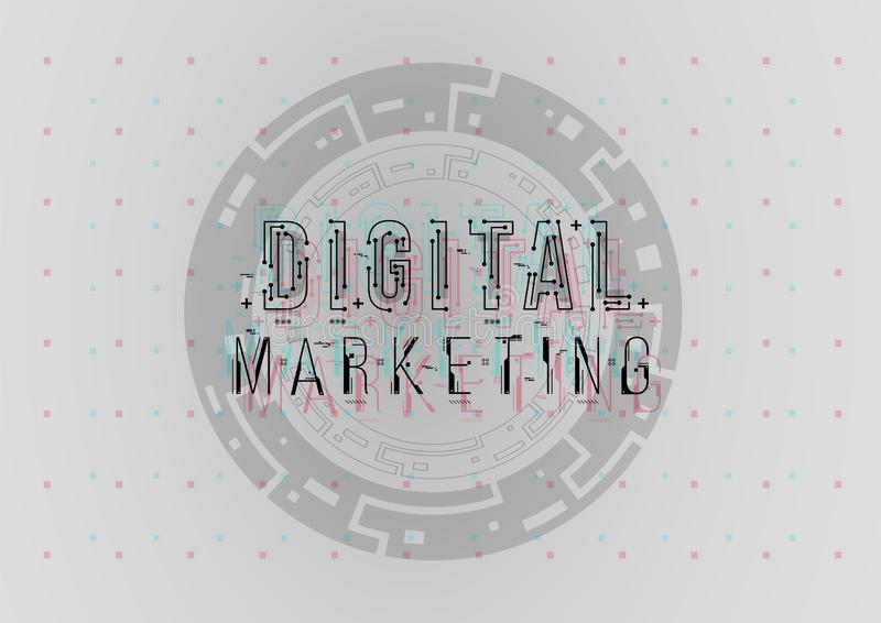 Digital Marketing. Conceptual Layout with HUD elements for print and web. Lettering with futuristic user interface royalty free stock photography