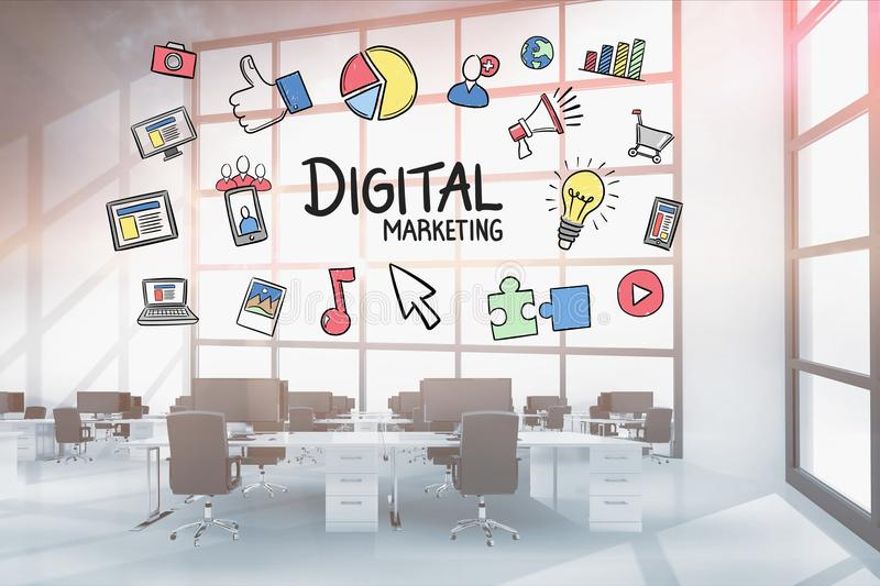 Digital marketing and doodle graphics in office. Digital composite of Digital marketing and doodle graphics in office stock photo