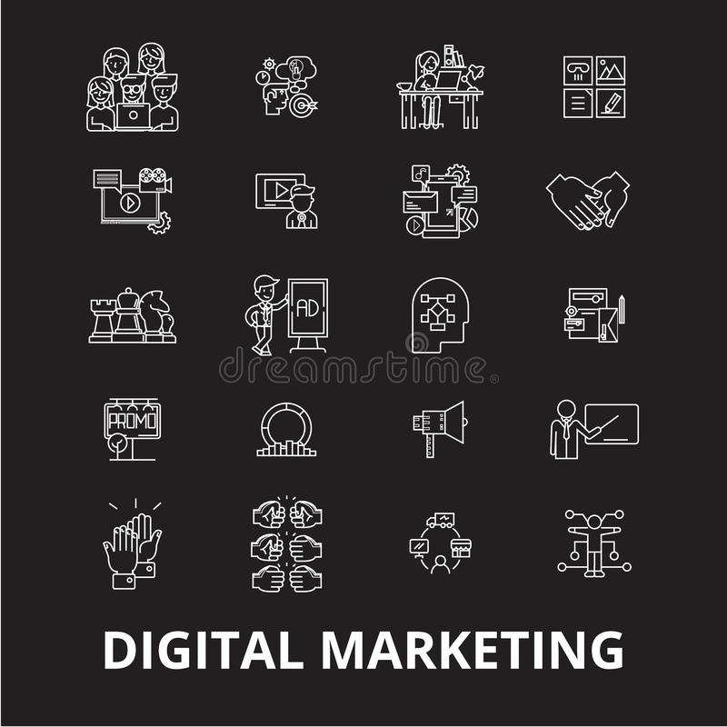 Digital marketing editable line icons vector set on black background. Digital marketing white outline illustrations royalty free illustration