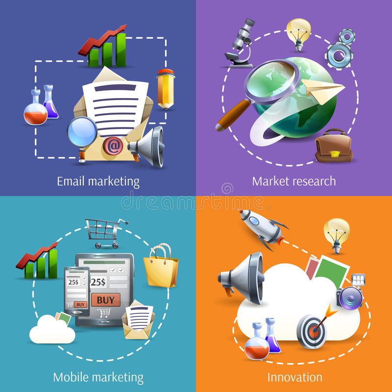 Digital marketing 4 flat icons square royalty free illustration