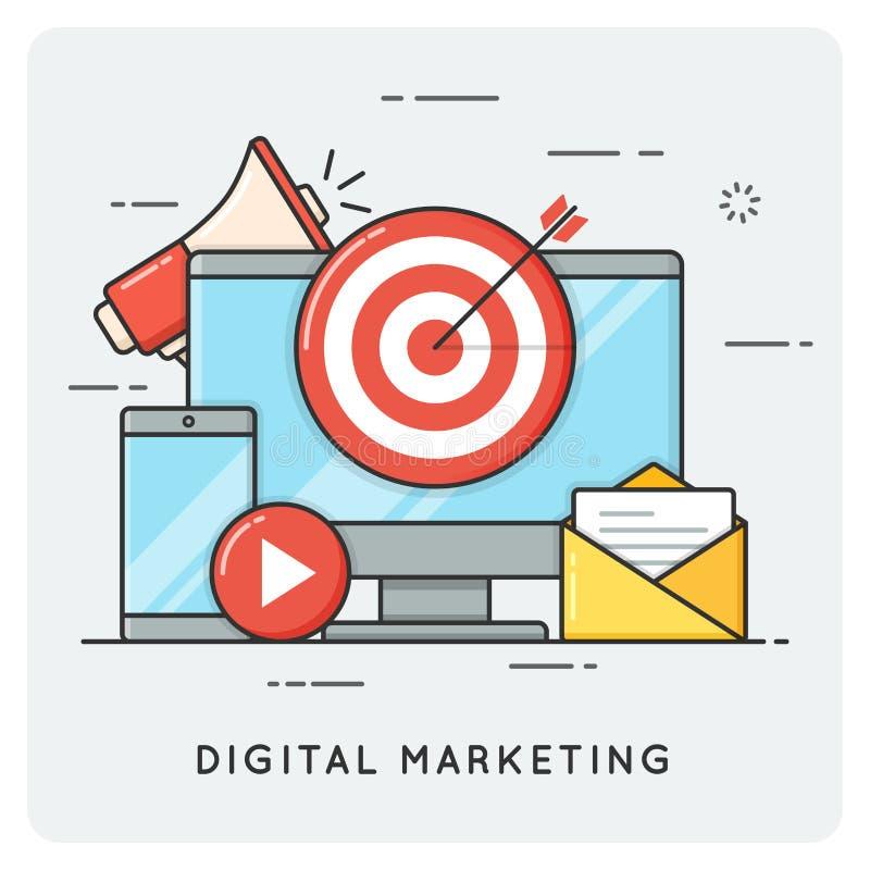 Digital marketing. Flat line art style concept. Vector illustration. stock illustration