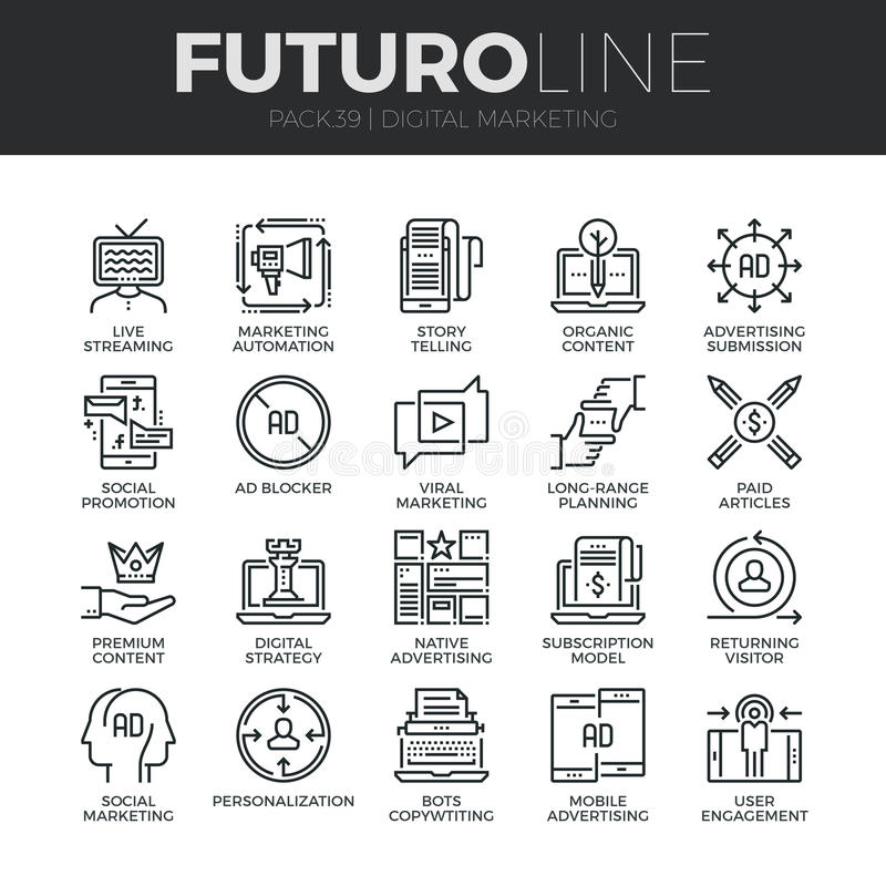 Digital Marketing Futuro Line Icons Set royalty free illustration