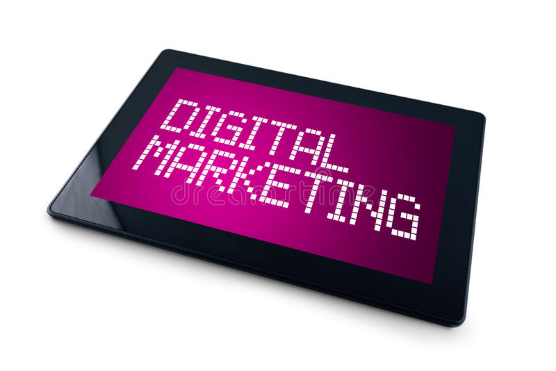 Digital Marketing on Generic Tablet computer display. Overwhite background royalty free stock photography