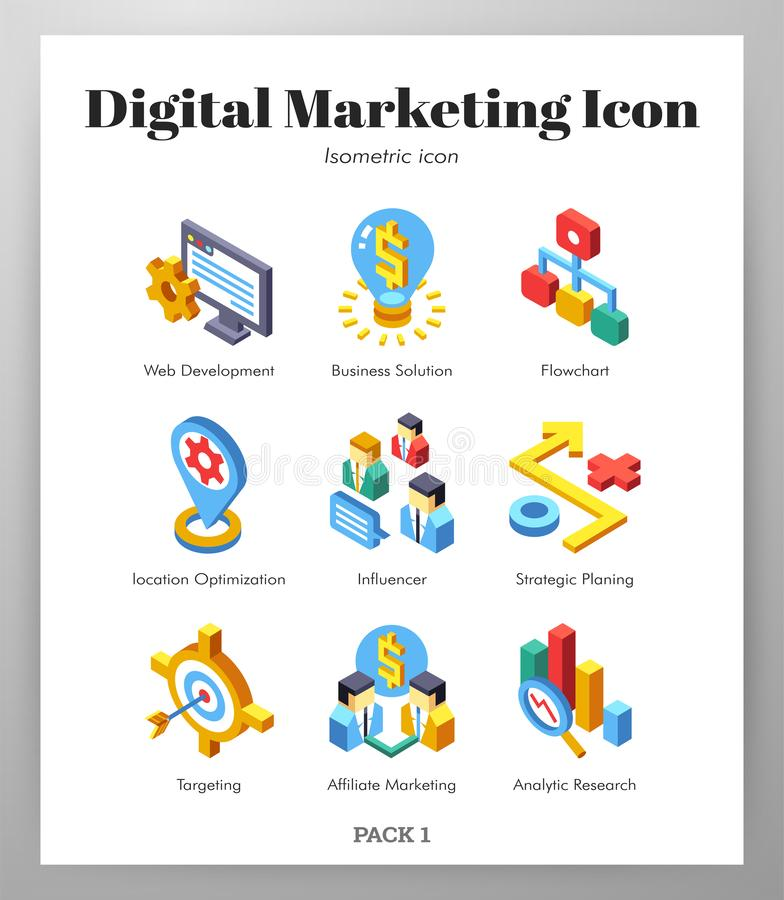 Digital marketing icons Isometic pack. Digital marketing vector illustration in isometric design vector illustration
