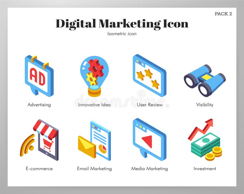 Digital marketing icons Isometic pack royalty free illustration