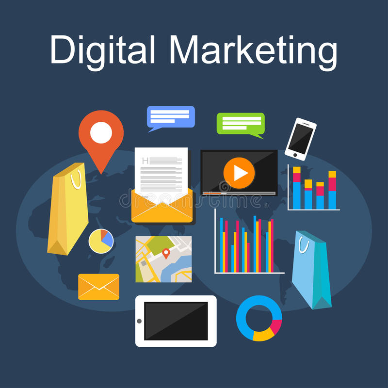 Digital-Marketing-Illustration Flache Designillustrationskonzepte stock abbildung