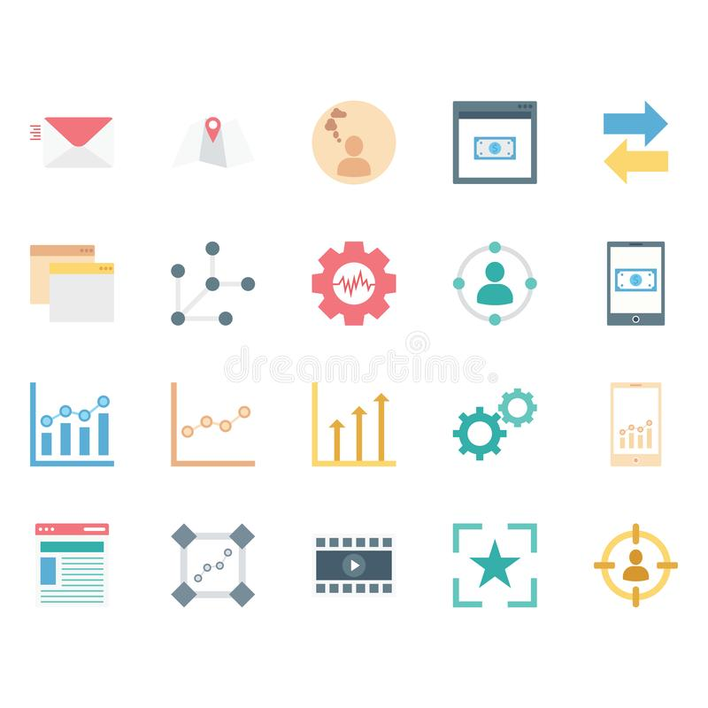 Digital Marketing Isolated Vector Icons Set can be easily modified or edit royalty free illustration