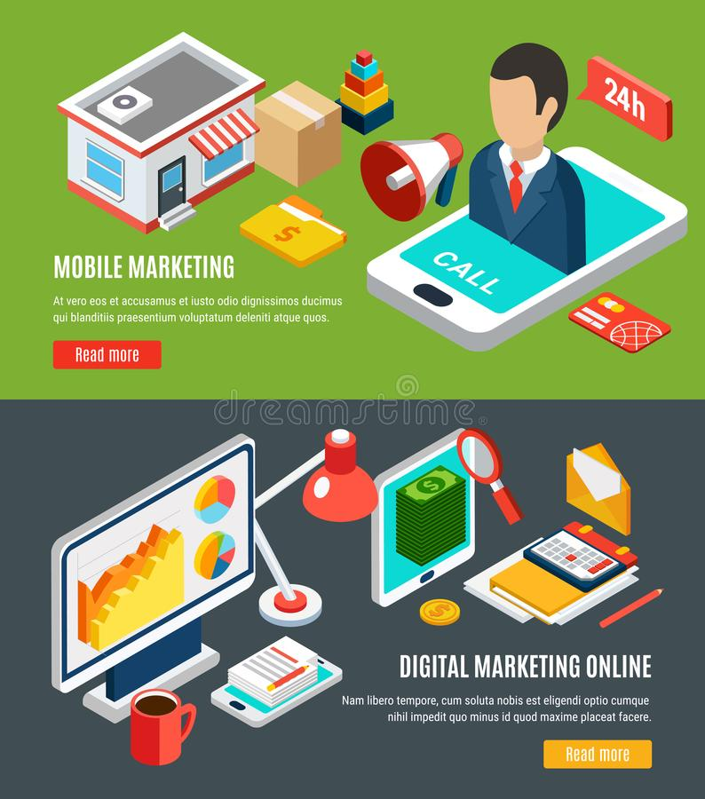 Digital Marketing Isometric Banners vector illustration