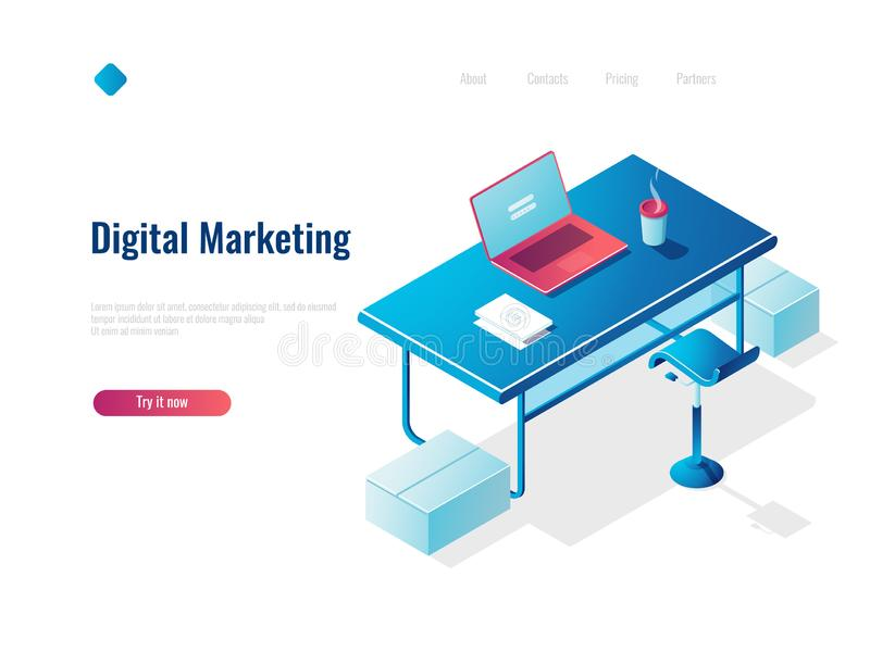 Digital marketing isometric concept employment, office workplace, workspace, table with open laptop, top royalty free illustration