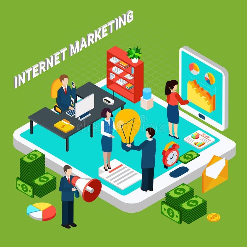Digital Marketing Isometric Concept royalty free illustration