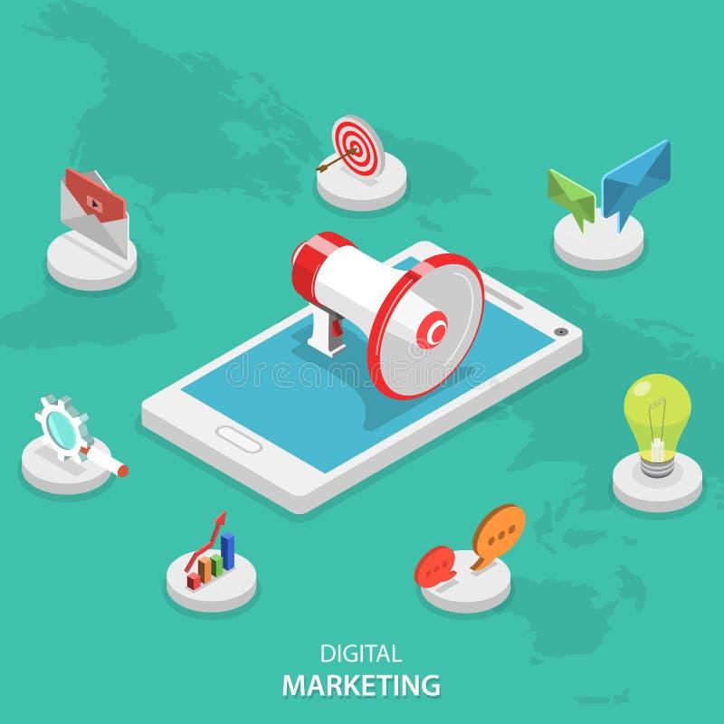 Digital marketing isometric flat vector concept. stock illustration