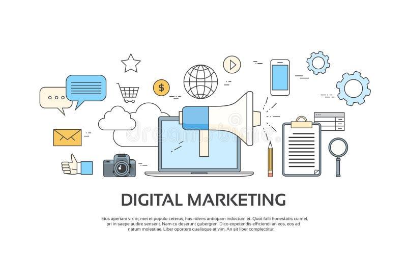 Digital Marketing Laptop Business Megaphone Device Loudspeaker Web Banner Set royalty free illustration