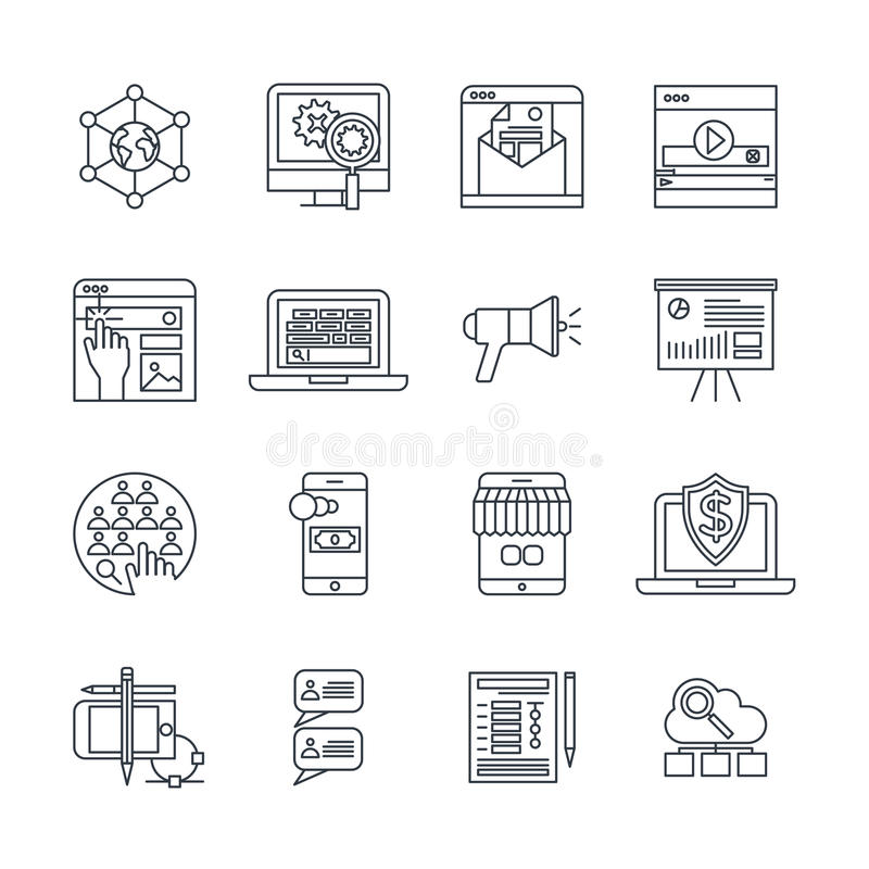 Digital Marketing Linear Icons Set. With social media payment system cloud services customer feedback isolated vector illustration royalty free illustration