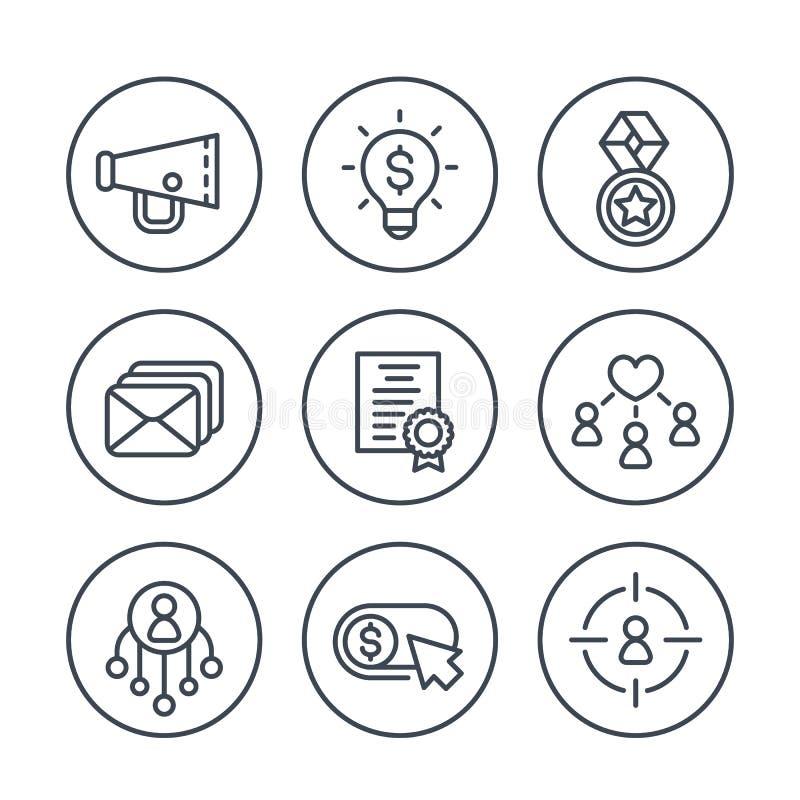 Digital-Marketing-Linie Ikonen eingestellt auf Weiß stock abbildung