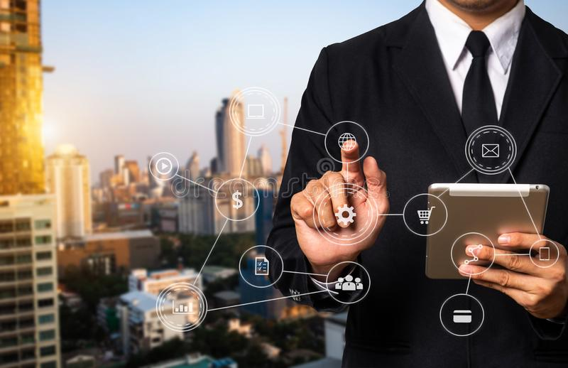 Digital marketing media tablet. Inbound marketing business with virtual diagram dashboard and Online or permission market concept.business man with an open hand stock images