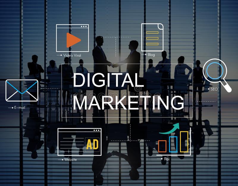Digital Marketing Media Technology Graphic Concept. Business Digital Marketing Media Technology Graphic Concept royalty free illustration