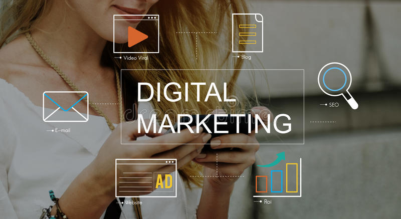 Digital Marketing Media Technology Graphic Concept stock photography