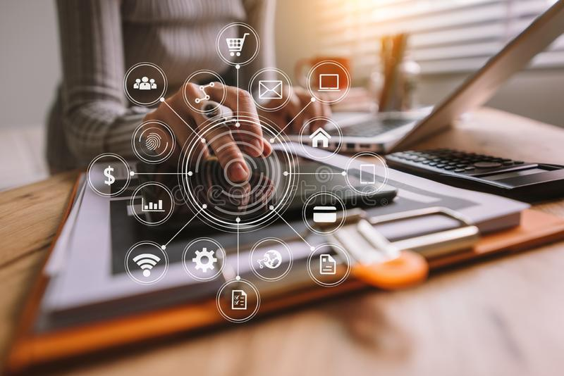 Digital marketing media in virtual screen stock images