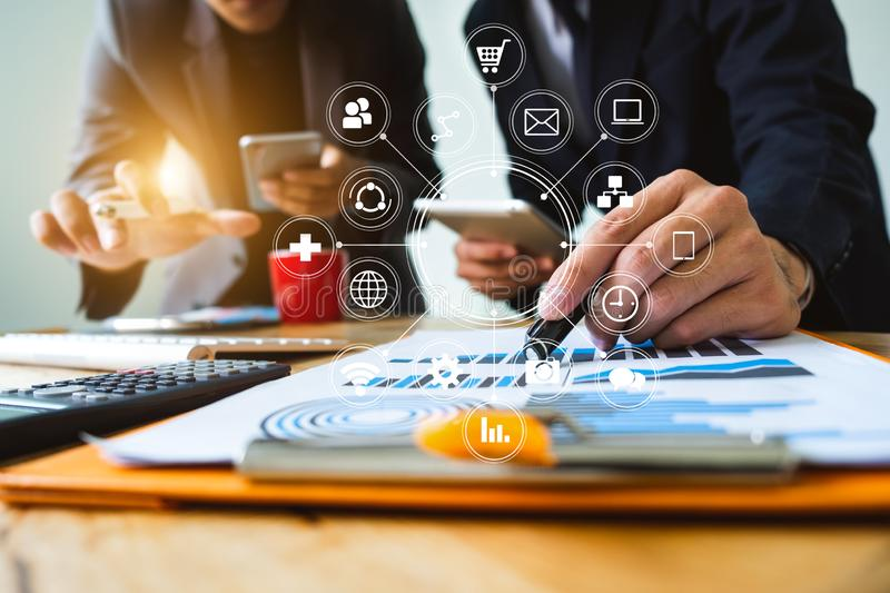 Digital marketing media in virtual screen.business royalty free stock photography