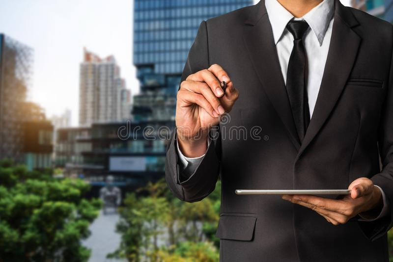 Digital marketing media in virtual screen royalty free stock photo