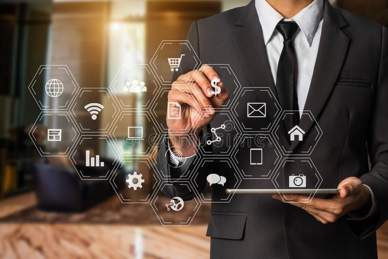 Digital marketing media in virtual screen. Data Management System with business working with provide information marketing virtual computer stock photo