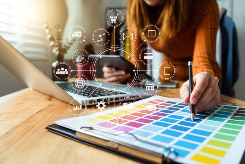 Digital marketing media in virtual screen royalty free stock photography