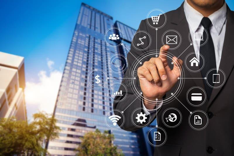 Digital marketing media in virtual screen stock photos