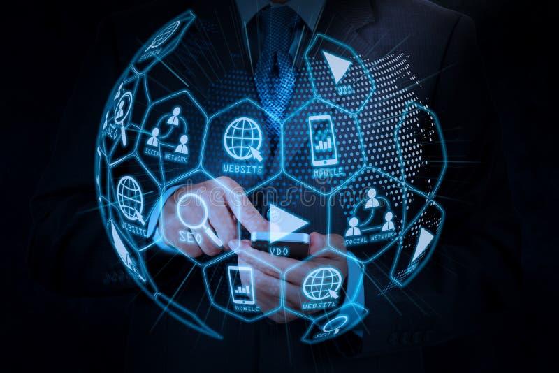 Digital marketing media (website ad, email, social network, SEO, video, mobile app) in virtual globe shape diagram. Businessman hand using mobile smart phone royalty free illustration