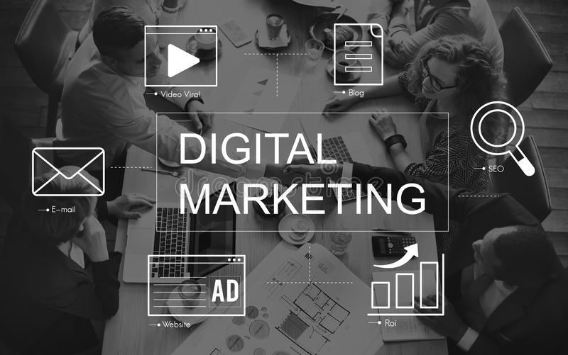 Digital-Marketing-Medientechnik-Grafik-Konzept stock abbildung