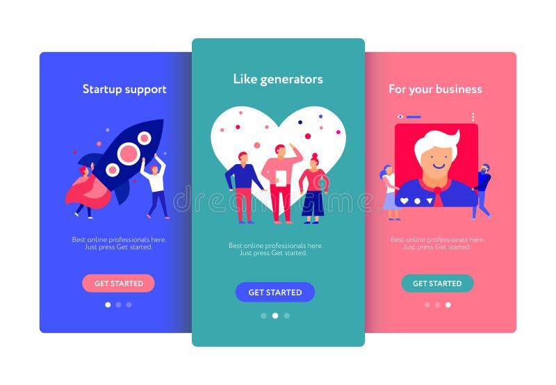 Digital Marketing Mobile Screens Set vector illustration