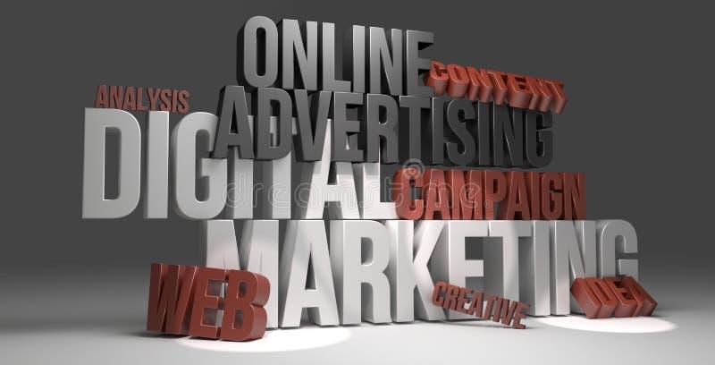 Digital Marketing online advertising 3D render royalty free illustration