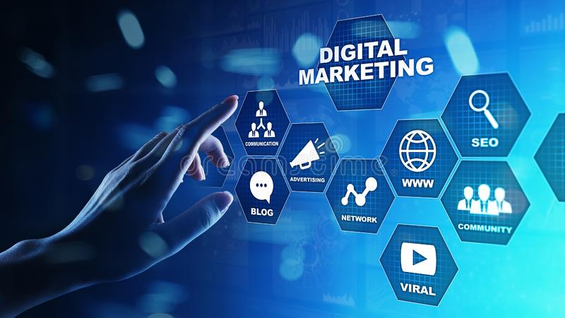 Digital marketing, Online advertising, SEO, SEM, SMM. Business and internet concept. stock images