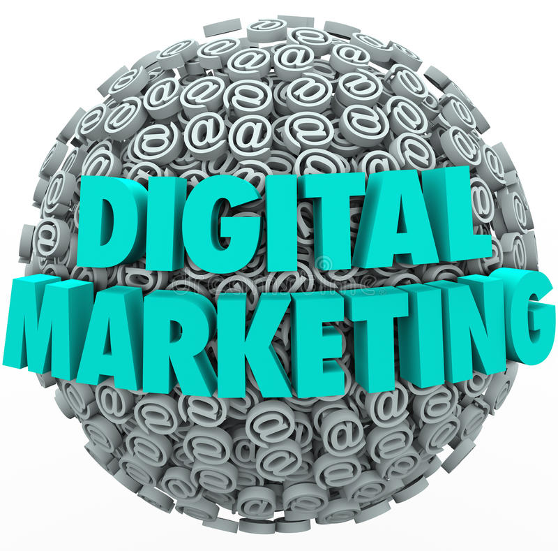 Digital Marketing Online Internet Campaign Web Outreach At Symbol. The words Digital Marketing on a ball or sphere of at or email symbols and signs to illustrate stock illustration