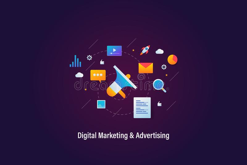 Digital-Marketing, Online-Werbung, Netzförderungskonzept, Netzfahne mit Ikonen und Elemente lizenzfreie abbildung