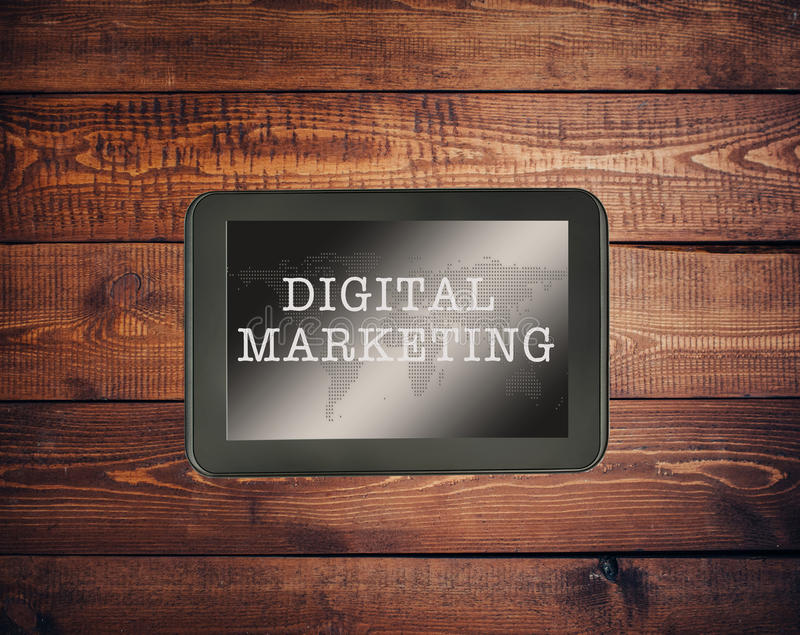 Digital Marketing. Online Working Concept with World Map interface stock photos