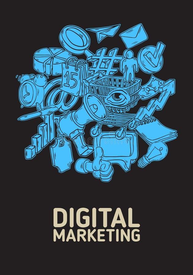 Digital-Marketing-Plakat-Design mit lokalisierten wesentlichen in Verbindung stehenden Gegenstand-Ikonen und der Element-künstler stock abbildung