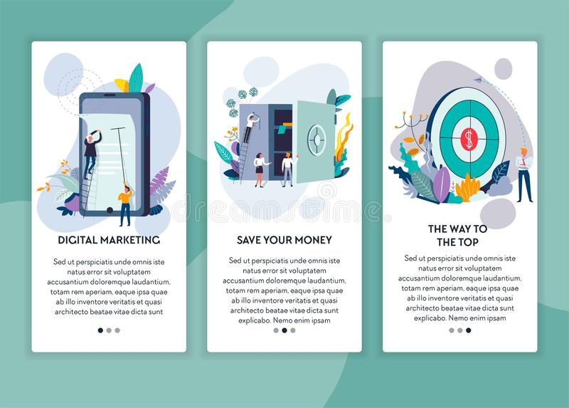 Digital marketing save money and way to top web page template vector illustration