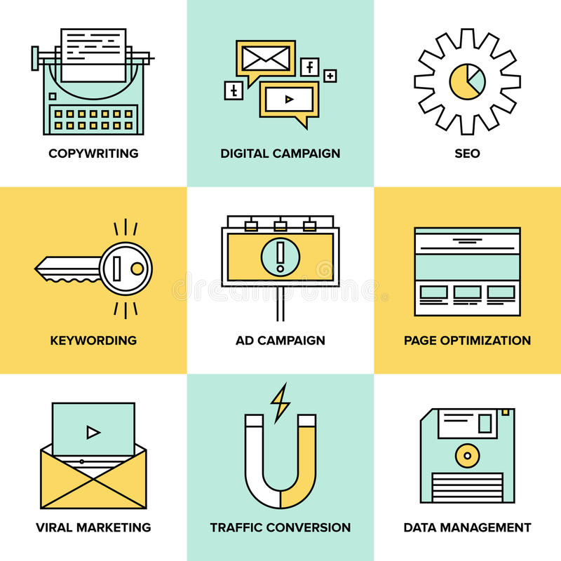 Digital marketing and seo optimization flat icons. Flat line icons of digital marketing, viral advertising, social media campaign, newsletter promotion, text