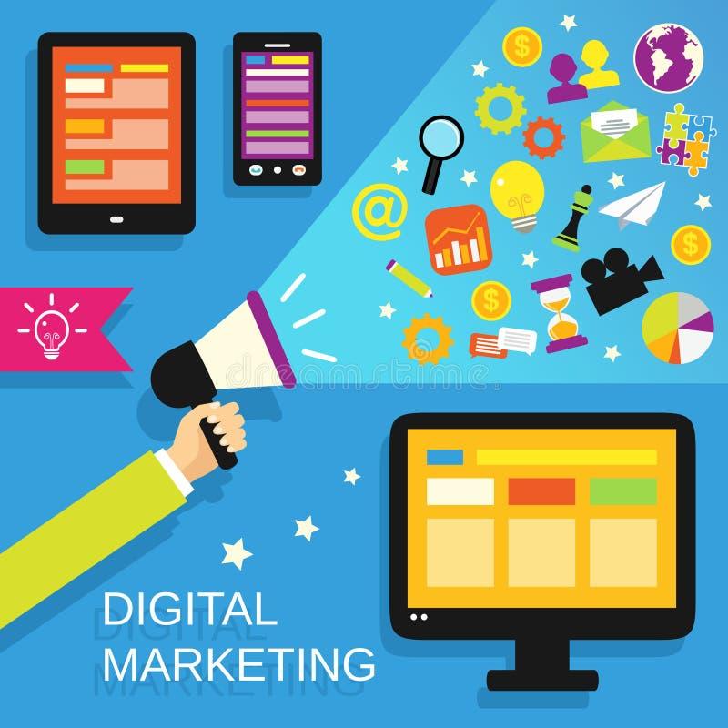 Digital marketing set vector illustration