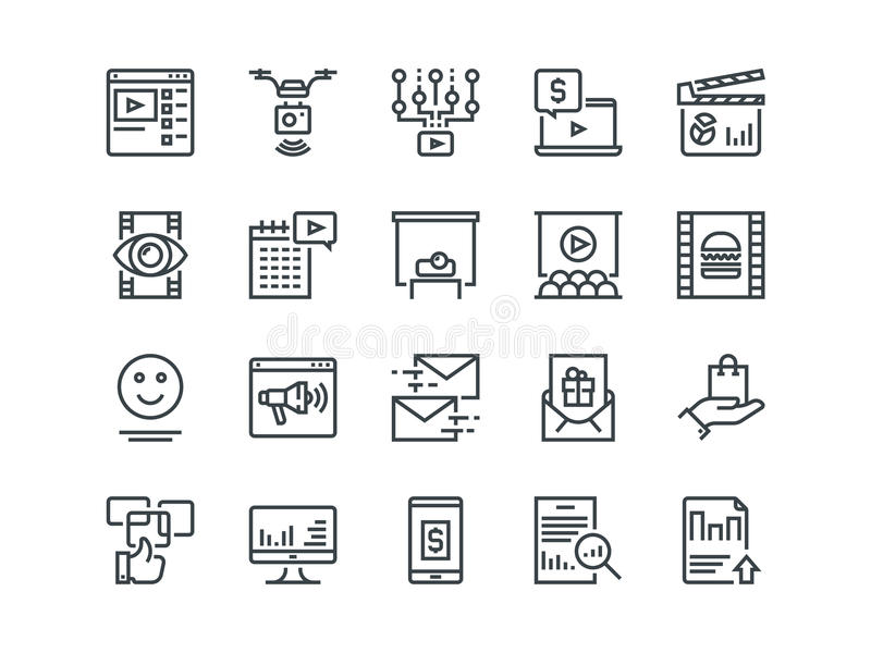 Digital Marketing. Set of outline vector icons. Includes such as Viral video royalty free illustration